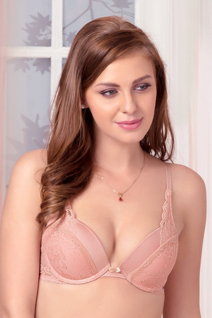 Rose Tan | pink-padded-wired-push-up-plunge-bra
