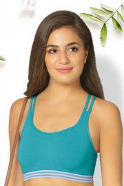 Crisscross Back Cotton Bralette - Blue Bird Color