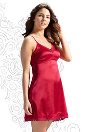 Eternal Romance Satin Chemise - Tango Red Color