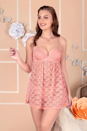 Bridal Bliss Lace Babydoll - Rose Tan Color