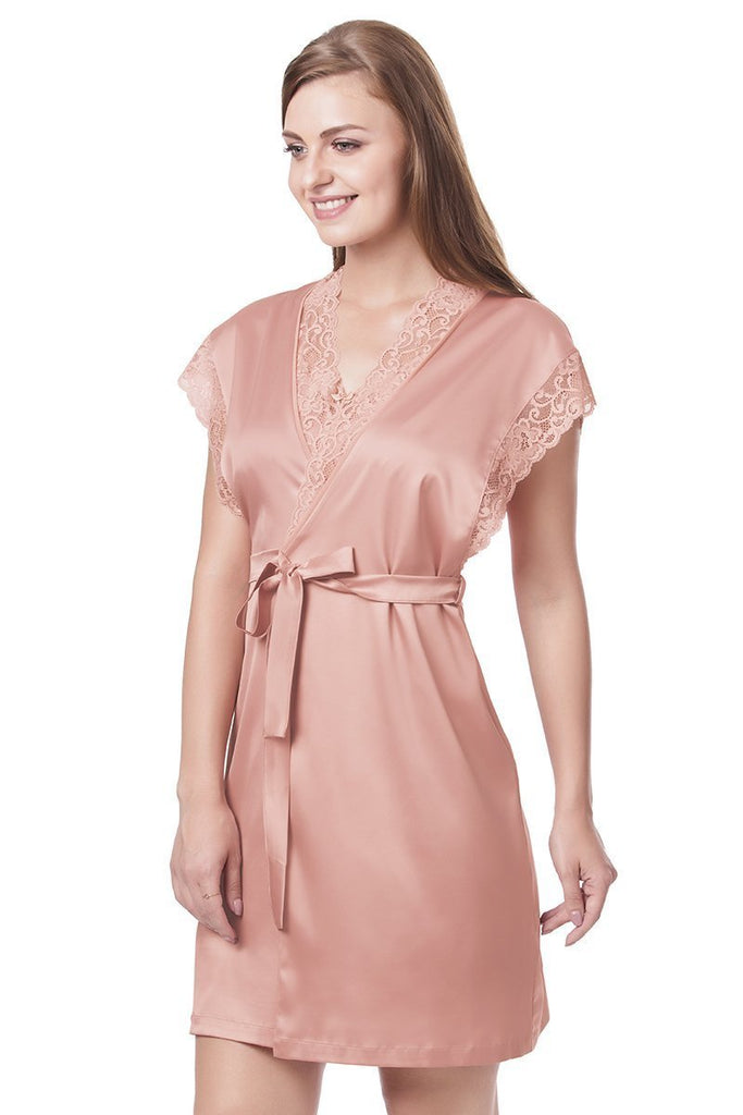 Rose Tan | pink-lace-v-neck-robe
