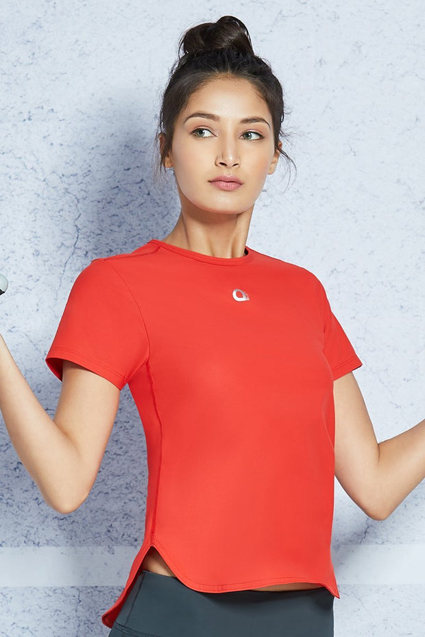 Smooth and Seamless Fitness T-shirt - Molten Lava Color