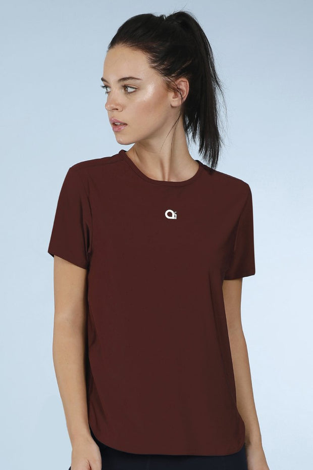 Smooth And Seamless Fitness T-Shirt - Currant Color