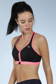Medium Impact Front Zip Sports Bra - Black Color