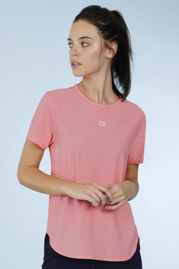 Smooth And Seamless Fitness T-Shirt - Shell Pink Color