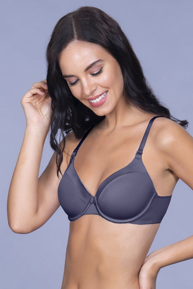 Satin Edge Padded Wired  Bra - Odessey Grey Color