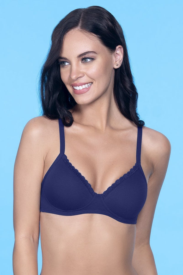 Cotton Casuals Non-Wired T-Shirt Bra - Dark Blue Color