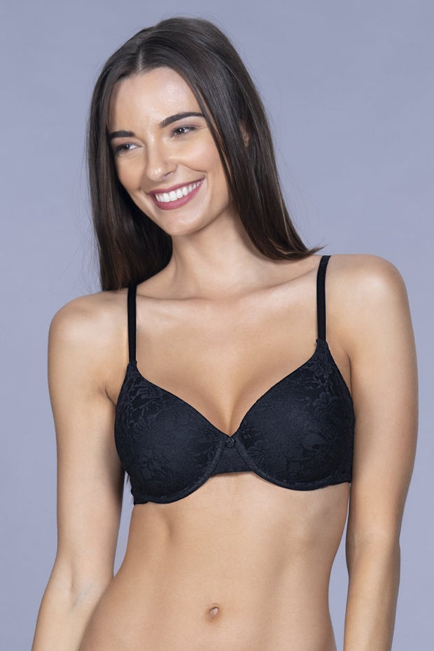 Floral Romance Padded Wired Bra - Black Color