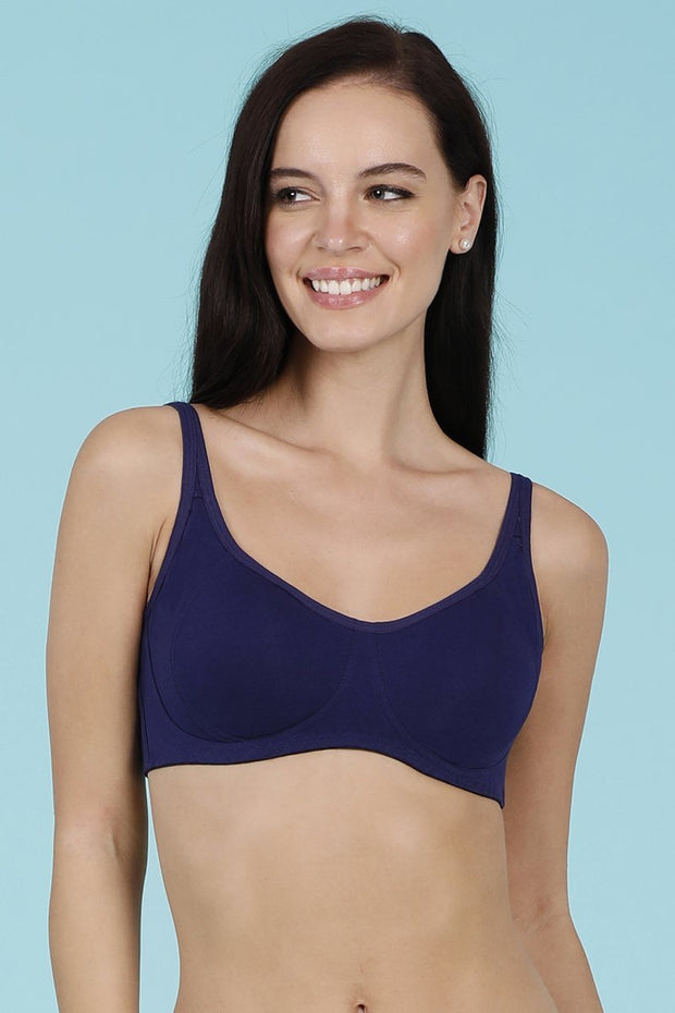 Cool Contour Non-Padded Bra with Aloe Finish - Blue Jewel Color