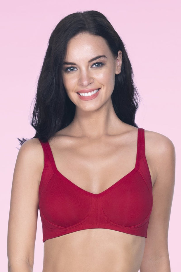 Cool Contour Non-Padded Bra with Aloe Finish - Crimson Color