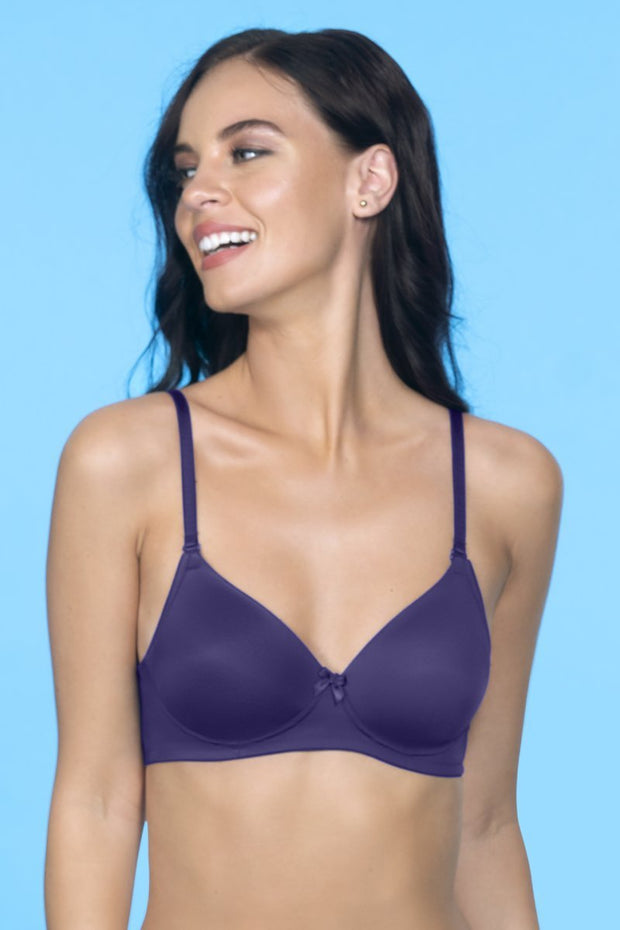 Smooth Charm Non-Wired T-Shirt Bra - Blue Jewel Color