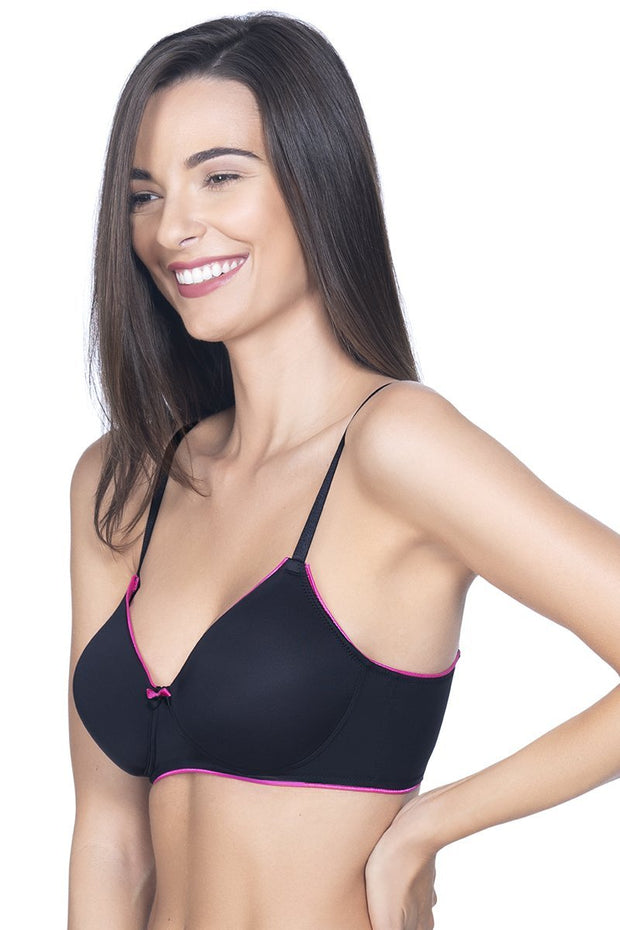 Black Casual Chic Padded Non-Wired T-shirt Bra