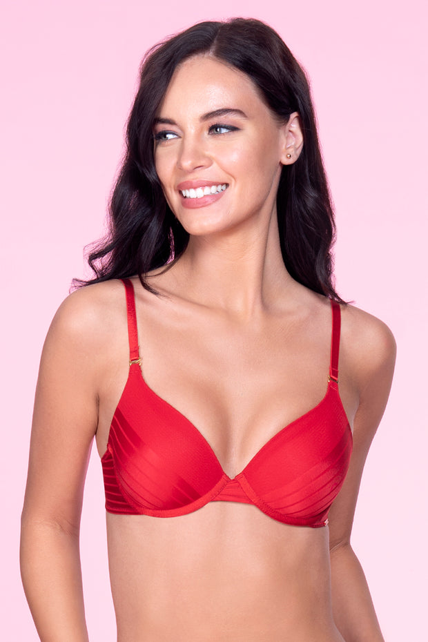 Sheer Stripes Padded T-Shirt Bra - Haute Red Color