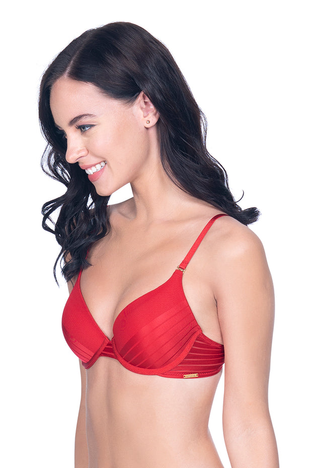 Haute Red Sheer Stripes Padded T-Shirt Bra