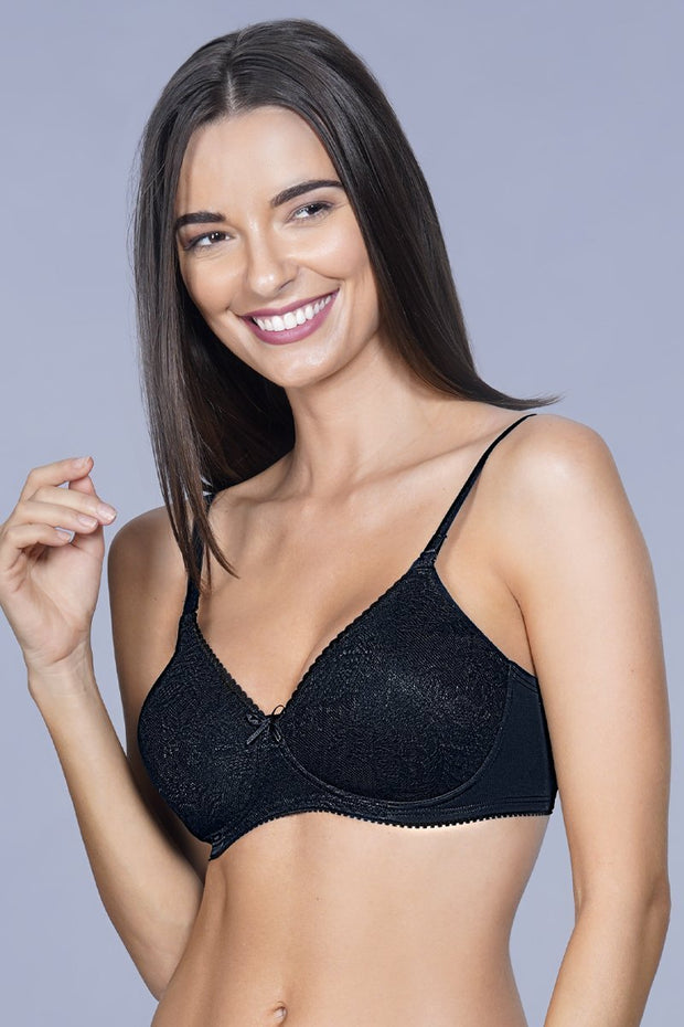 Lace Essentials Padded Non-Wired Bra - Black Color
