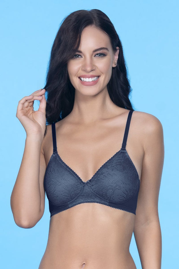 Lace Essentials Padded Non-Wired Bra - Insignia Blue Color