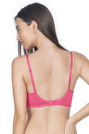 Neon Pink Lace Essentials Padded Non-Wired Bra