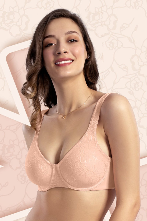 Wired Lace Minimiser Bra - Impatiens Pink Color