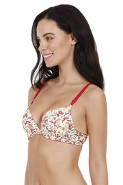 Printed Crossback Push-up Bra