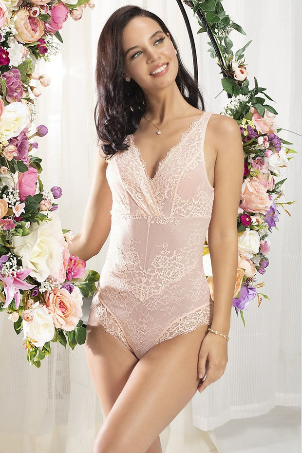 Eternal Bliss Lace Bodysuit - Pink Pearl Color
