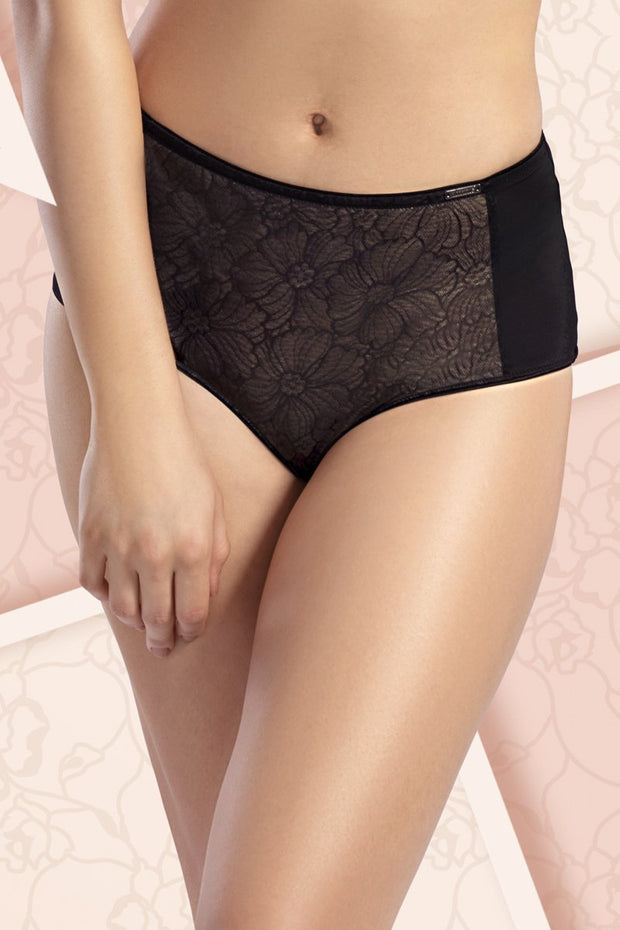 Sheer Lace Full Brief - BlackColor
