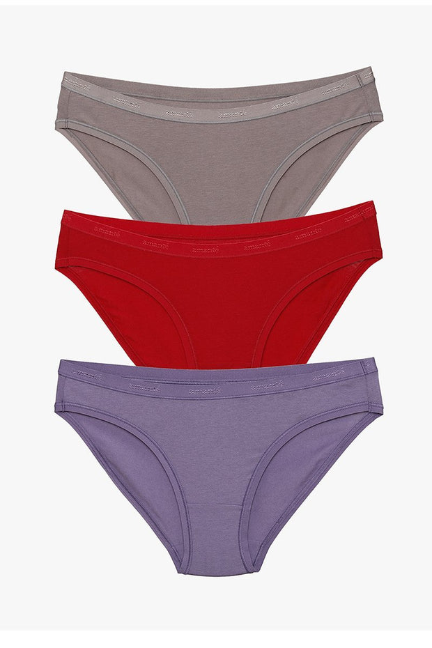 Low Rise Solid Bikini (Pack of 3) - AssortedColor