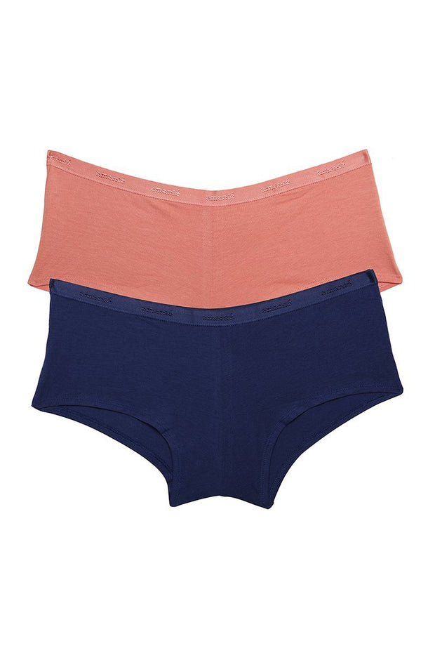Low Rise Solid Boyshorts (Pack of 2) - AssortedColor