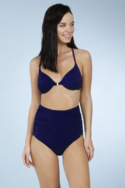 Navy Color Side Ruched Bikini Bottom