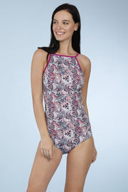 Halter Neck One Piece - Geo Montage Pr Color
