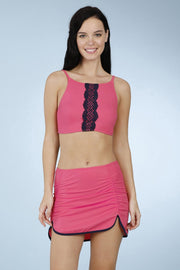 Side Ruched Swim Crop Top