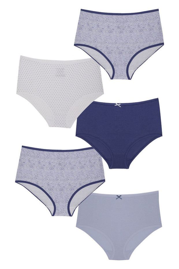 every de Assorted High Rise Full Brief (Pack of 5) - Mixed Combo 2Color