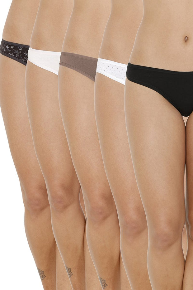 every de Assorted Low Rise Bikini (Pack Of 5) - AssortedColor