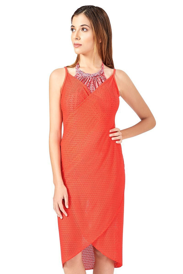 Cross Over Swim Cover Up - Coral Color