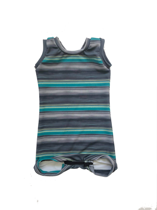 Grey/Teal Swimwear with zipper - Zipease