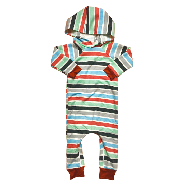 Multicolor Stripe Hooded Zip Romper - Zipease