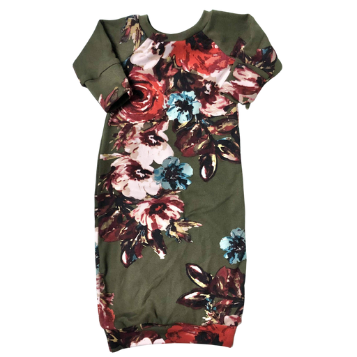 Olive Floral Baby Sleeper Gown - Zipease