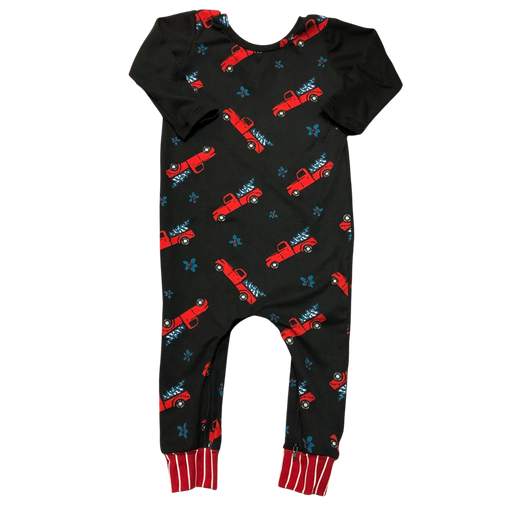 Red Trucks Zip Baby Romper - Zipease