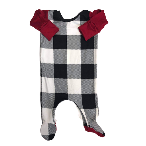 Black & White Plaid Zip Baby Romper - Zipease