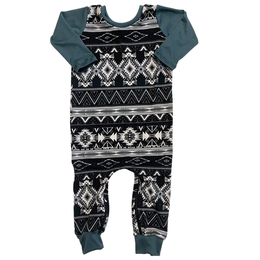Dusty Blue Aztec Zip Baby Romper - Zipease