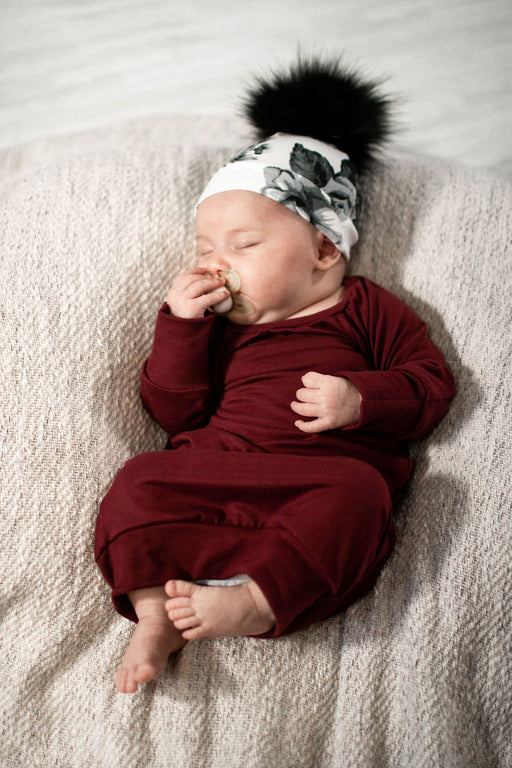 Maroon Sleeper Newborn Gown - Zipease
