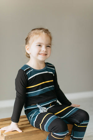 G-Tube Black Teal Stripe Romper - Zipease