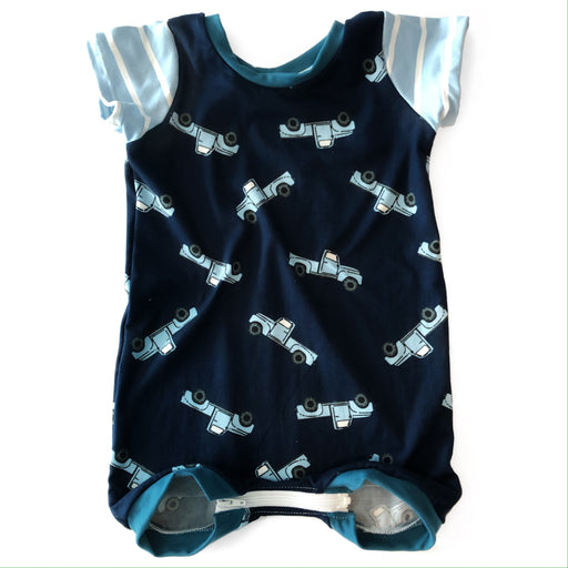 Navy Trucks Summer Romper - Zipease