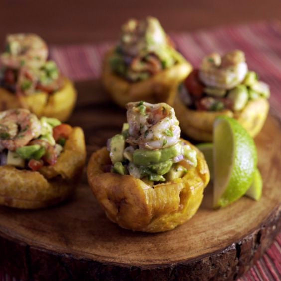 Shrimp Avocado Plantain Cups