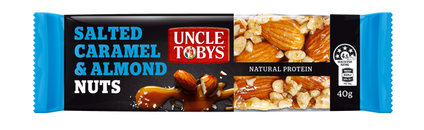 UNCLE TOBYS Salted Caramel & Almond  - box containing 16x40g bars