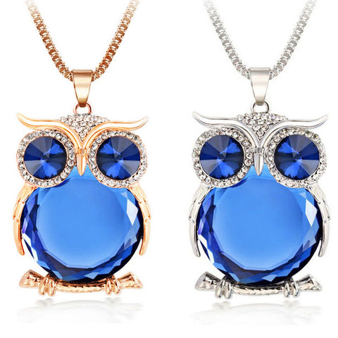 Crystal Owl Long Chain Pendant