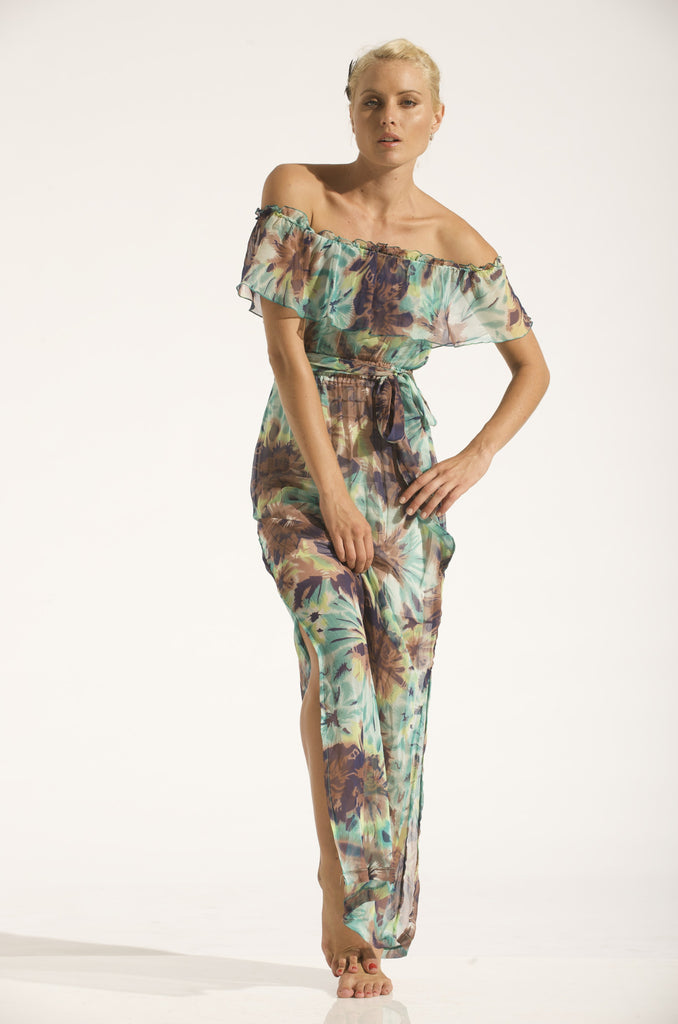 STRAPLESS MULTI WEARING FRILL DRESS / SILK