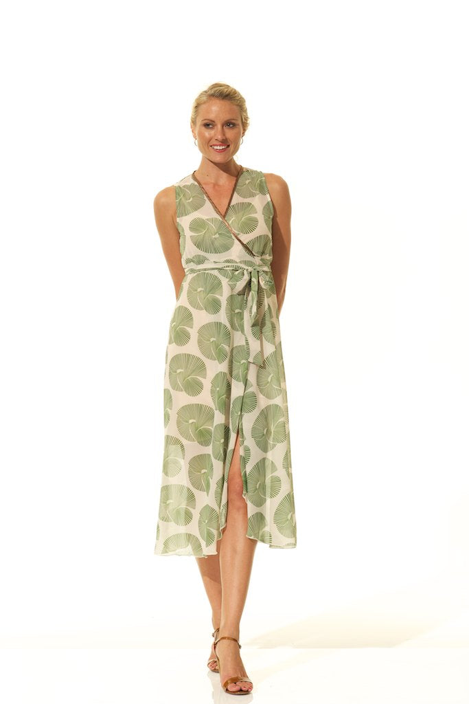 WRAP DRESSES / GREEN FAN