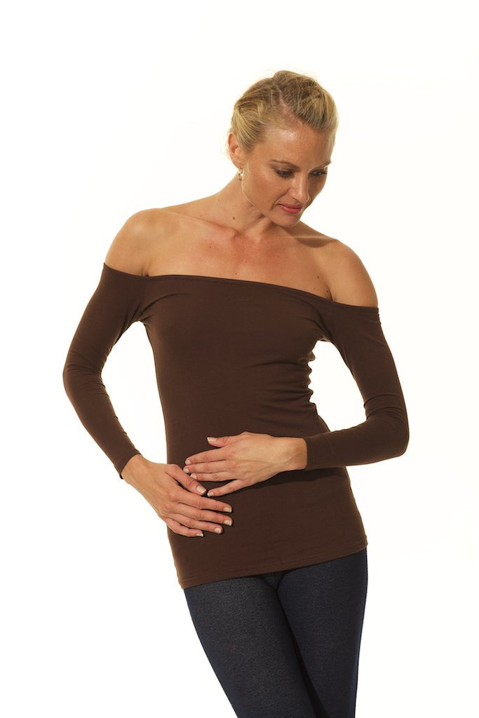 OFF THE SHOULDER Long Sleeve Tops / BROWN