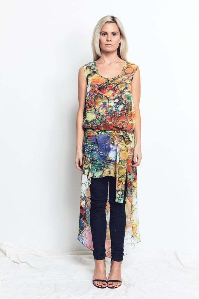 TUNIC DRESS / Bright Marble Print