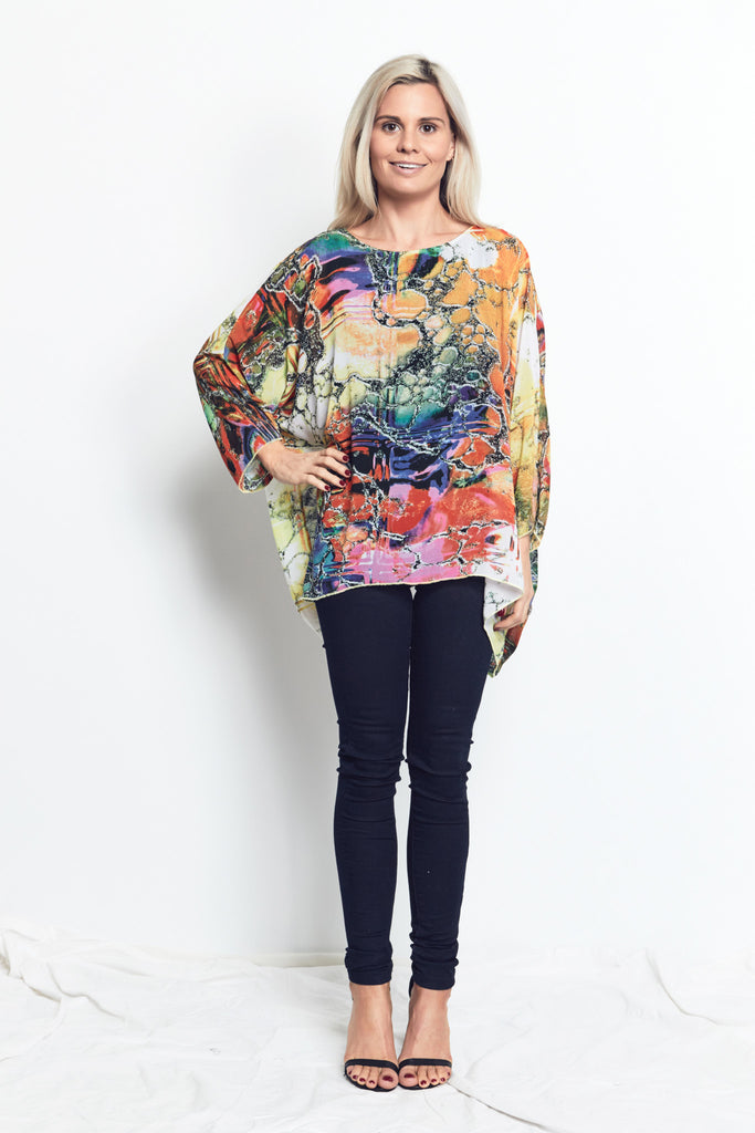 TOP with tank attached / Bright Marble Print